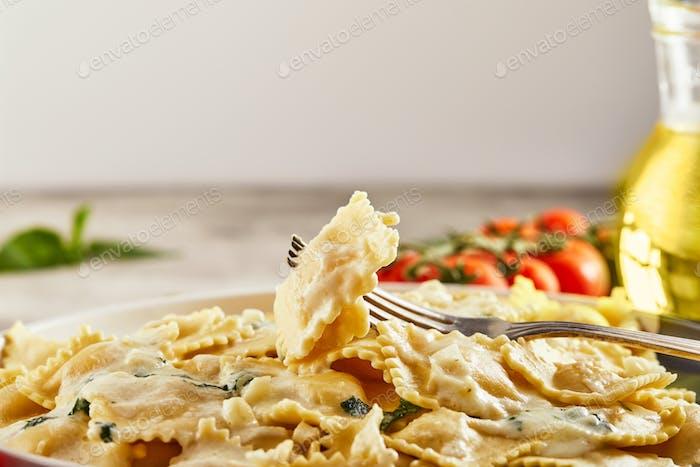 Tasty cooked ravioli