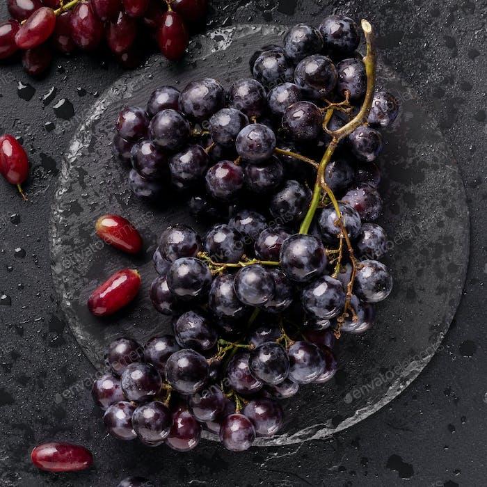 Close up of eco juicy dark blue grape on black