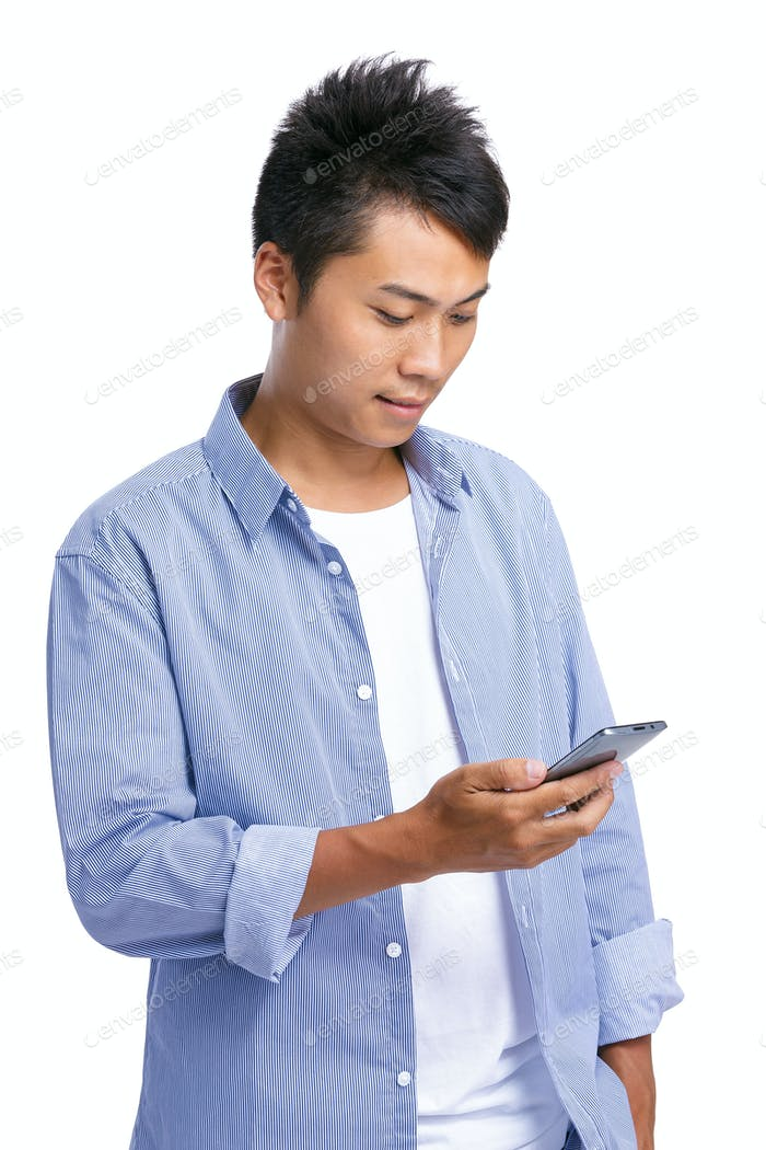 Asian man use phone