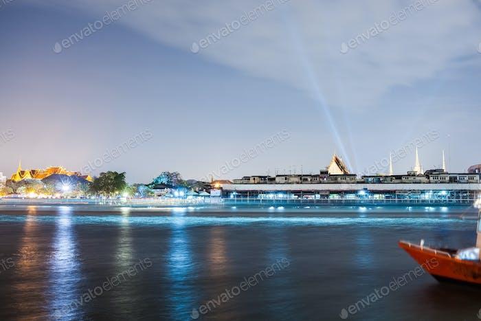 night view of chao phraya river