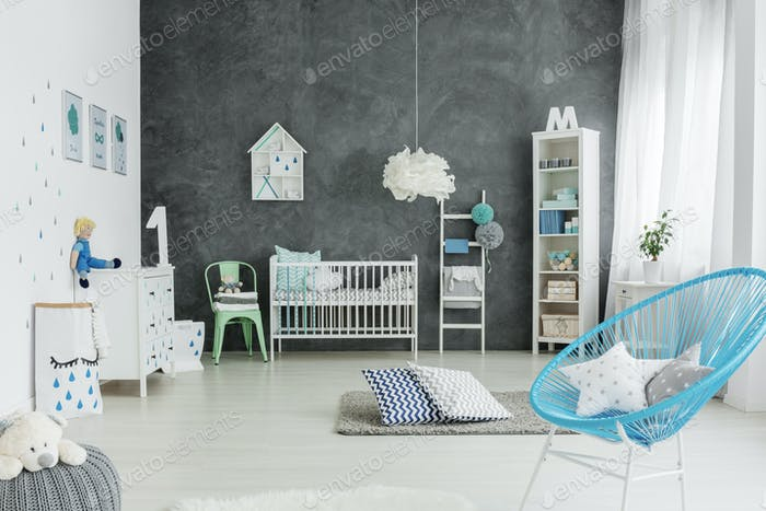 Nursery room in scandinavian style