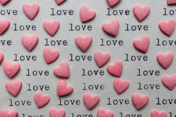 Heart shaped candy with loving words