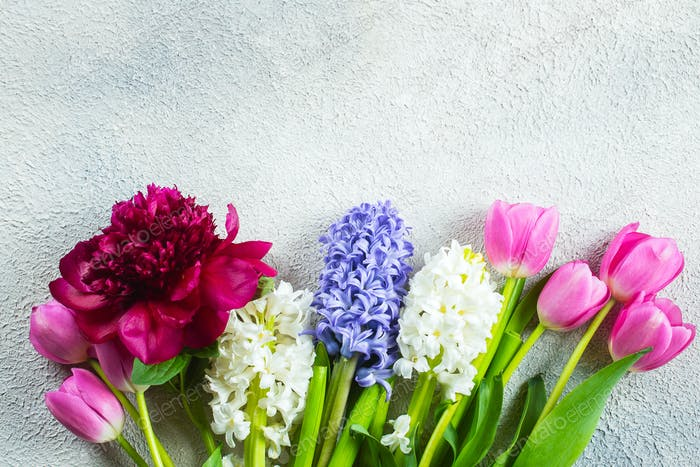 Mother's day or Woman's Day Concept. Hyacinth, tulips and peony flowers