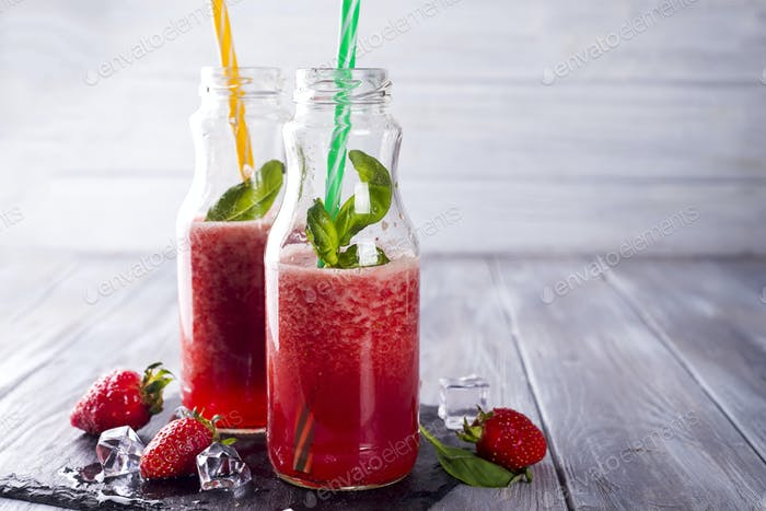 Strawberry homemade smoothie,