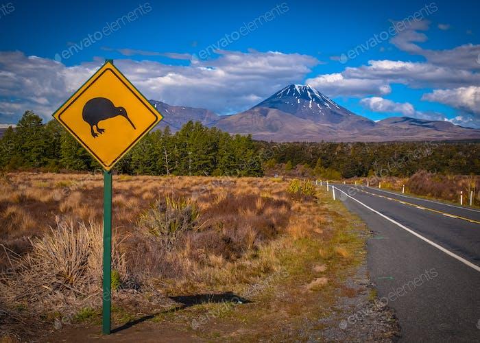Знак киви в NZ пейзаж