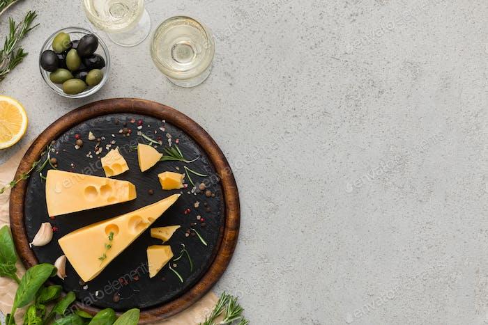 Käse- und Weinkonzept