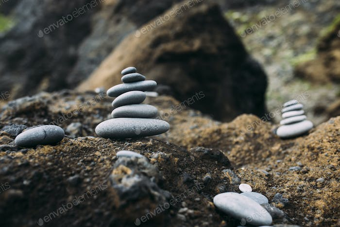 Rock Cairns on a hiking trail in Iceland