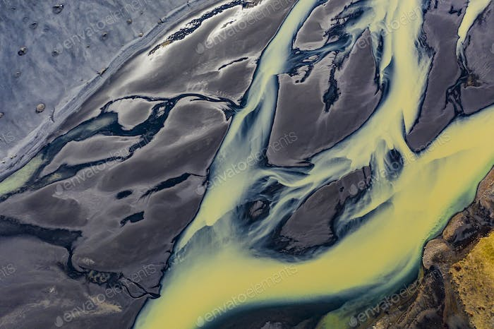 Aerial photograph of a glacial river system in the south of Iceland