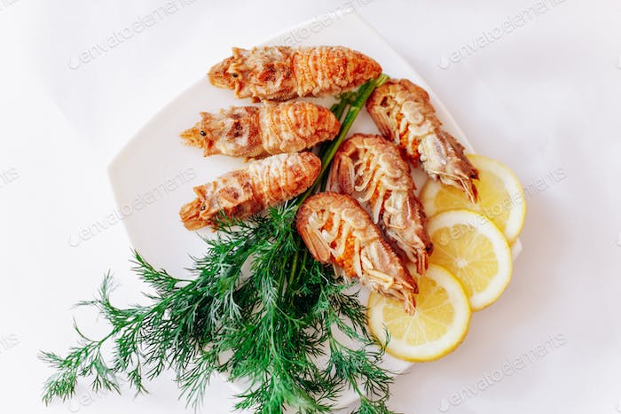Shrimp on a plate with lemon and dill. White background