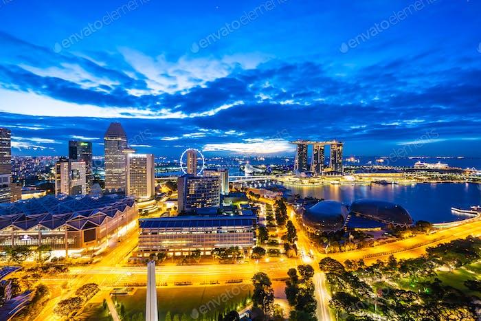 Hermoso edificio de Arquitectura exterior de la Ciudad de singapur