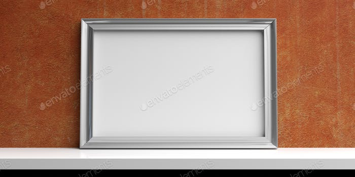 Silver frame on a white shelf - stucco wall background. 3d illustration