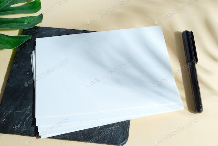 Sheets of blank mock-up paper wish black marker