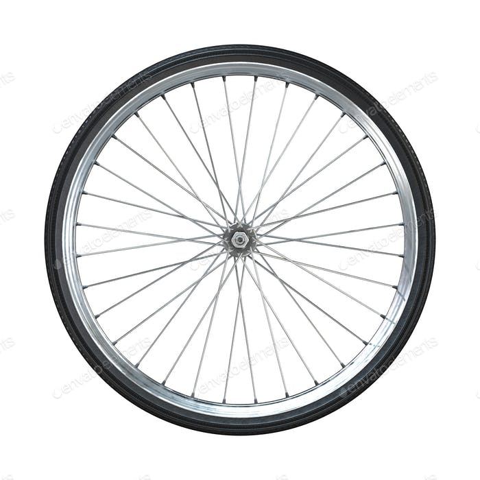 Bicycle wheel isolated on white background. Side view. 3d rendering.