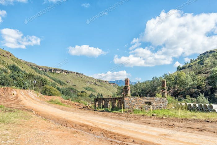 Ruin of historic trading post on the Sani Pass road
