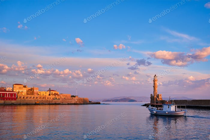 Boat in picturesque old port of Chania, Crete island. Greece
