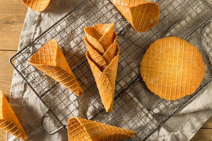 Crunchy Homemade Waffle Ice Cream Cones