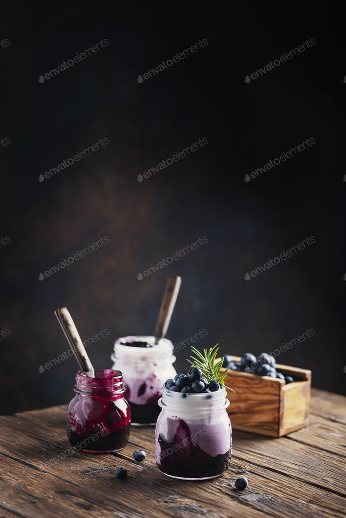 Sweet healthy yogurt with blueberry