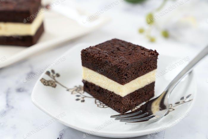 Homemade three layer steam chocolate cheese cake