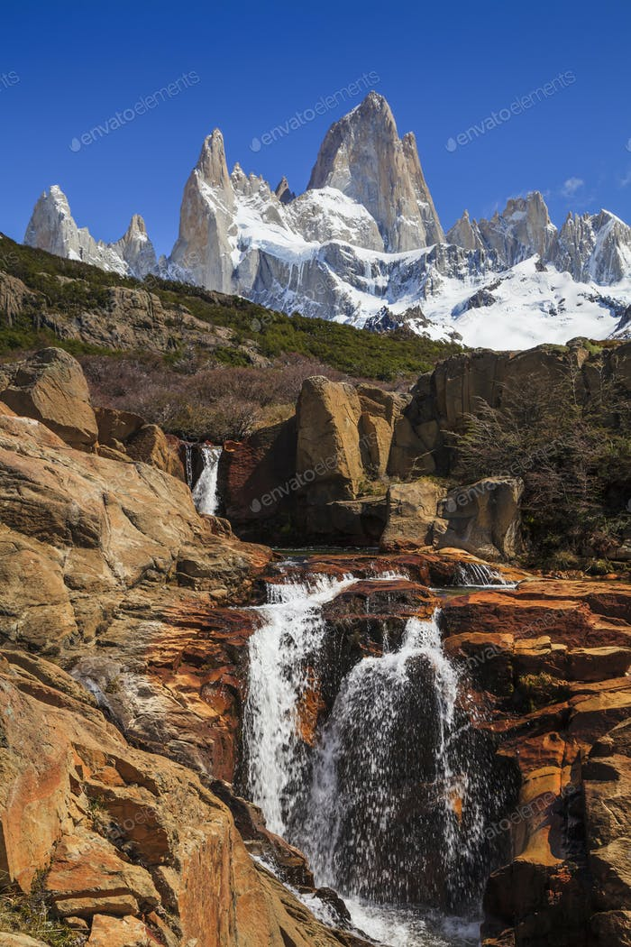 Picturesque Waterfall at Mount Fitz Roy. Patagonia. Argentina.