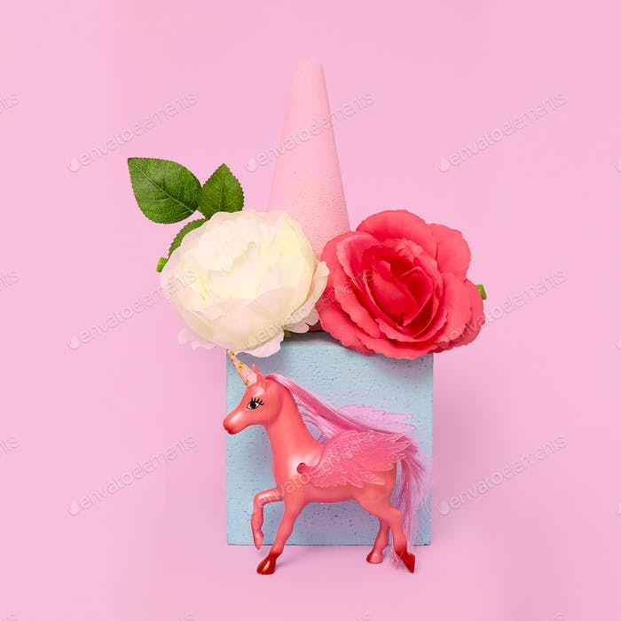 Unicorn toy in geometric flowers space. Minimal art. Pink vibes