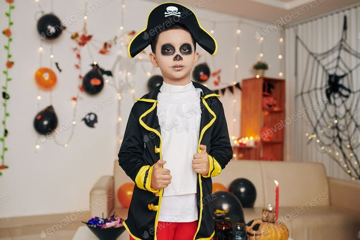 Boy in pirate skeleton costume