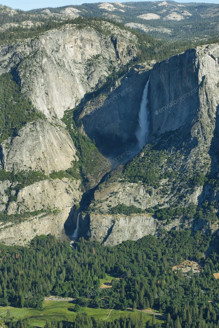 Upper and lower falls in Yosemite national Park