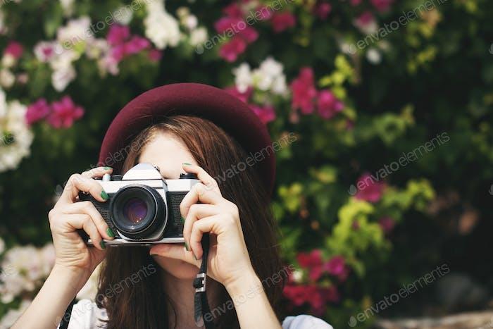 Traveler Photograph Camera Tourist Girl Lady Concept