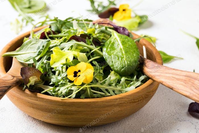 Salat aus einer frischen Mischung aus Blattgemüse. Antivirale gesunde Ernährung. Vitamine.