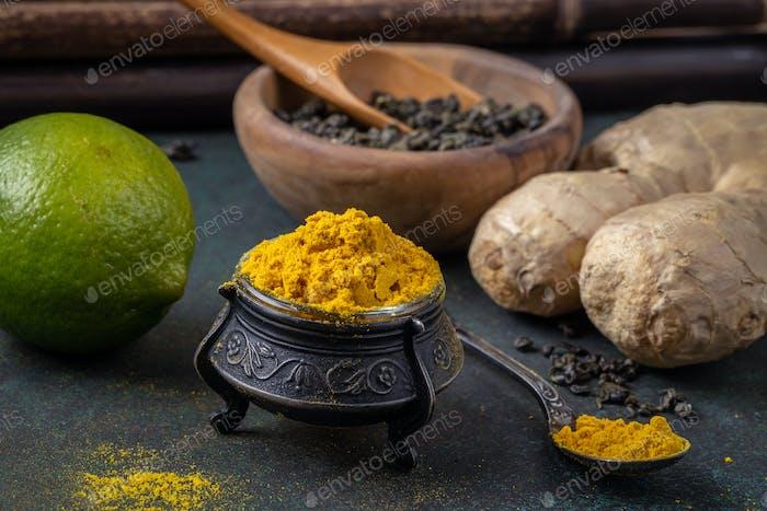 Turmeric based tea ingredients