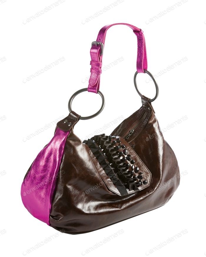 Metallized patent leather tote with frilly beaded carved crystal