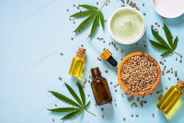 Cannabisöl und Cannabissamen bei white