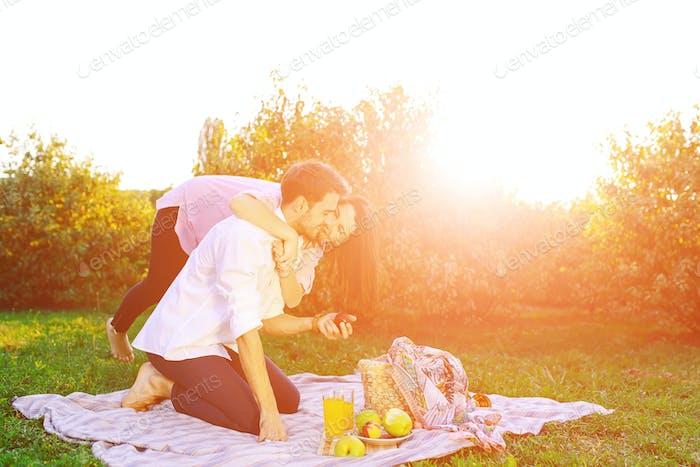 Glückliches Paar mit einem Picknick im Park an einem sonnigen Tag, küssen und umarmen