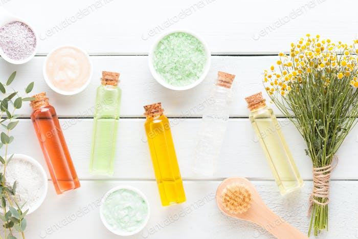 Spa aromatherapy cosmetic products concept, spa background.