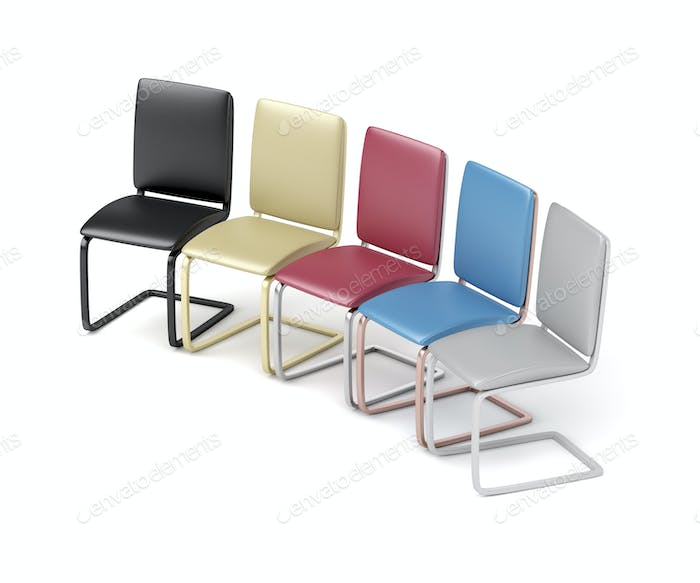 Five different colored chairs