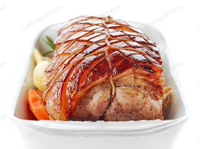 roasted pork on white background