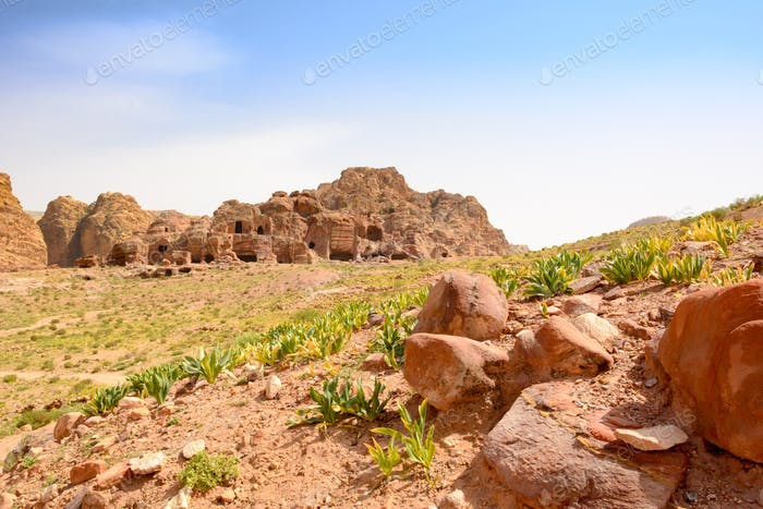 Cave dwellings in Petra