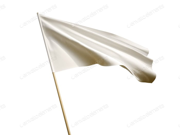 Waving white flag on white background 3D illustration