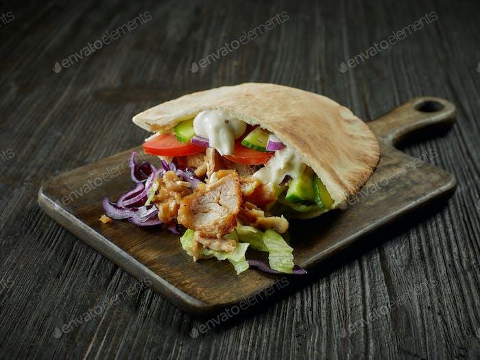 doner kebab on wooden table