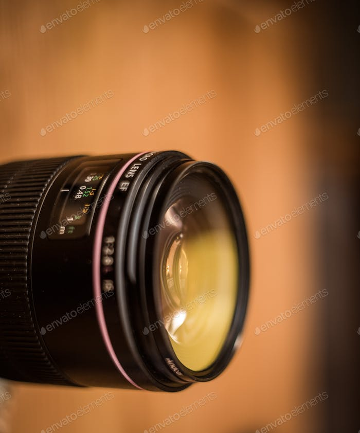 lens for the camera closeup