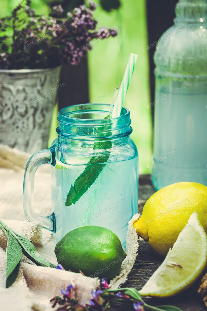 Drink infused with lemon and sage