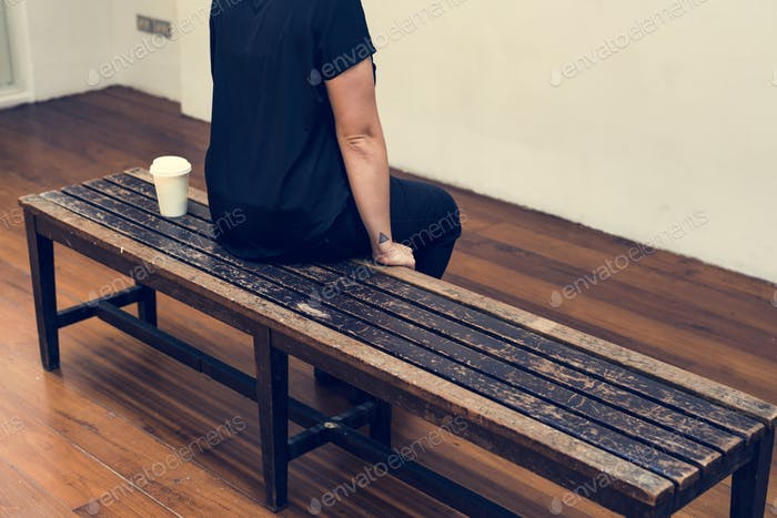 person sitting and taking a break