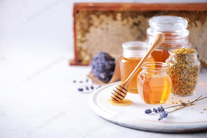 Herbal honey with lavender flowers, bee pollen granules, honey conb on grey background. Autumn