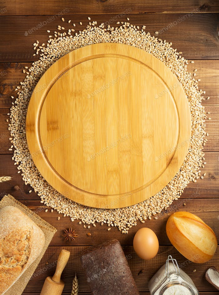 wheat grains and bakery ingredients