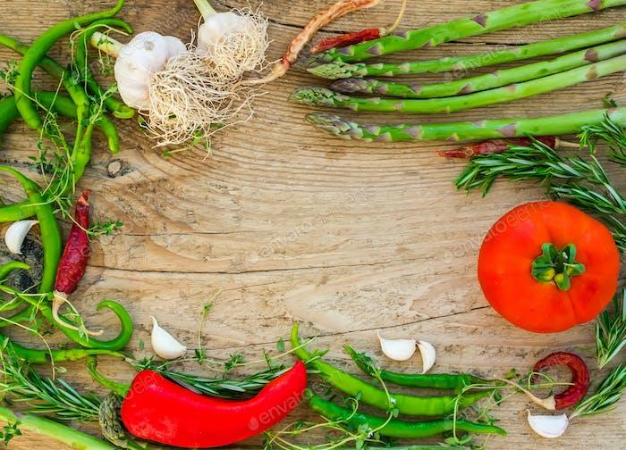 Vegetables on a wooden desk