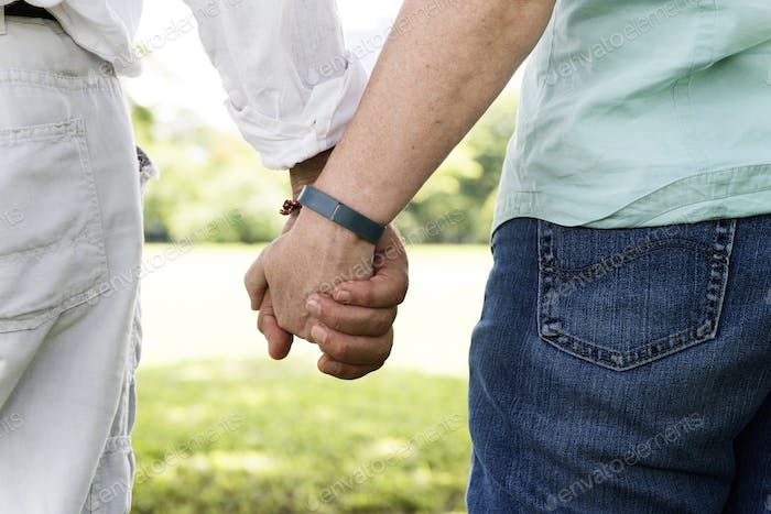 Olderly Couple Happiness Romantic Holding Hand Concept