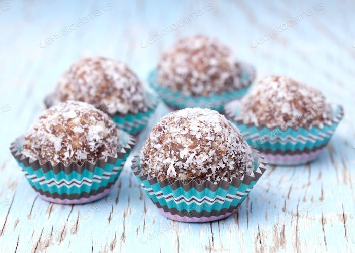 Handmade coconut snow balls made from moroccan dates, almond and