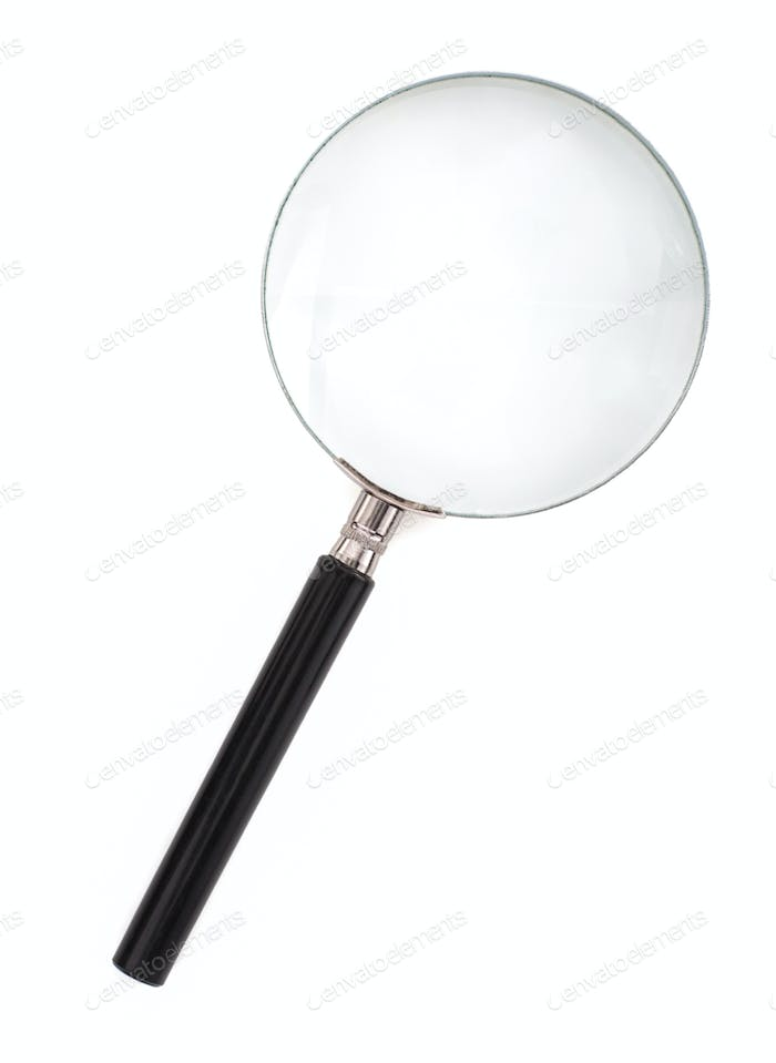 magnifying glass on white