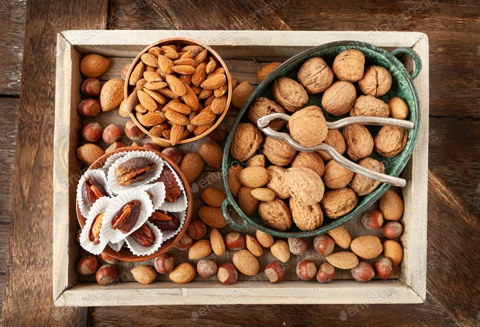 Selection of nuts and dates