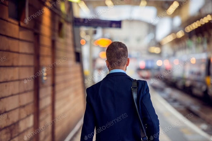 Businessman in suit walking at the staition, back view