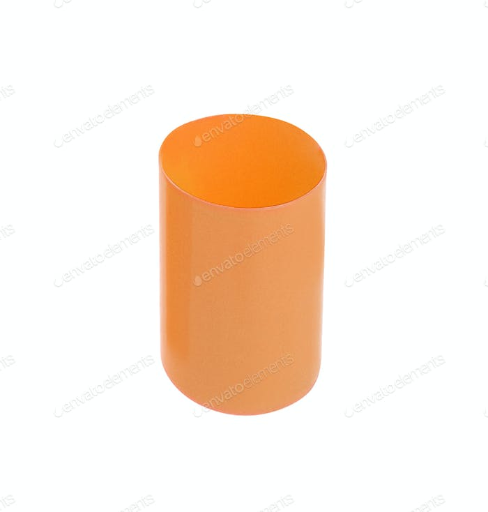 Orange empty plastic cup isolated on white